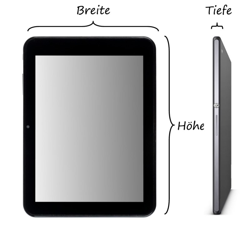 Tablet Maße