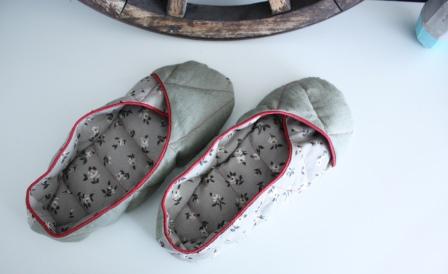 fertige Dinkel-Schuhe von oben