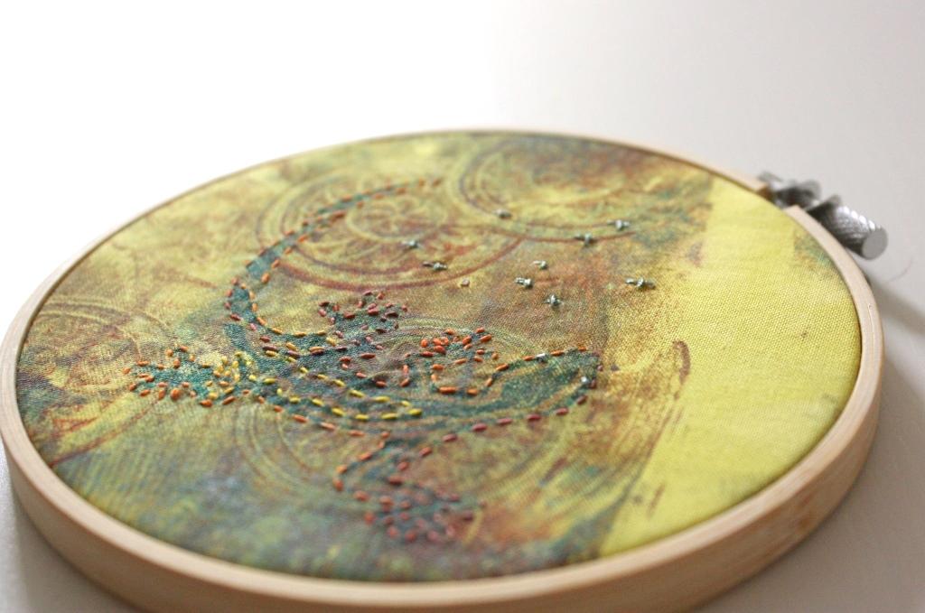Stickrahmen mit Gelli Plate bedruckt