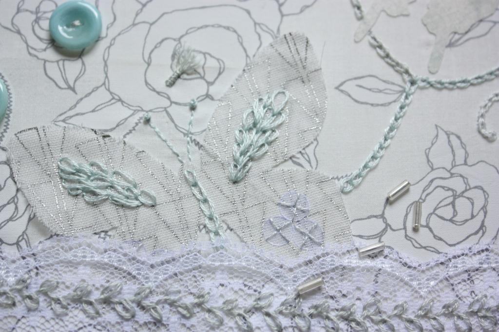 Stickrahmen im Februar Schmetterling-Collage - rundherum